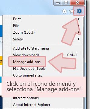 Click en el icono de menú y selecciona 'Manage add-ons'