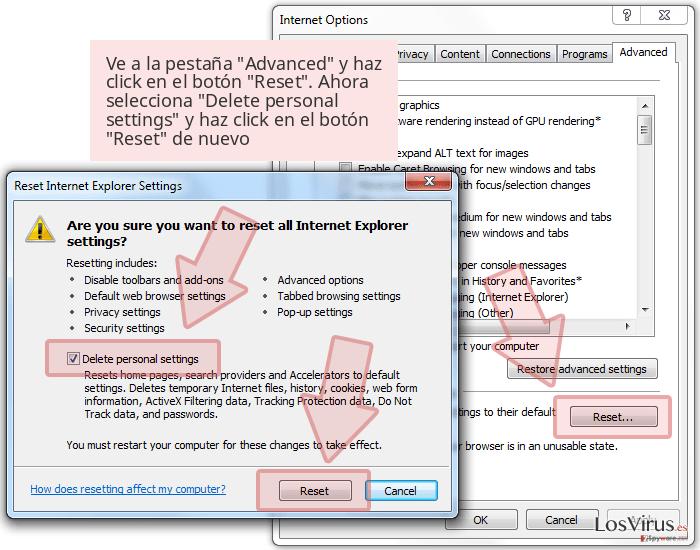 Ve a la pestaña 'Advanced' y haz click en el botón 'Reset'. Ahora selecciona 'Delete personal settings' y haz click en el botón 'Reset' de nuevo