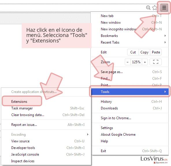 Haz click en el icono de menú. Selecciona 'Tools' y 'Extensions'