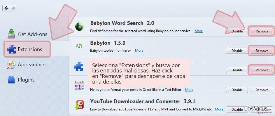 Selecciona 'Extensions' y busca por las entradas maliciosas. Haz click en 'Remove' para deshacerte de cada una de ellas