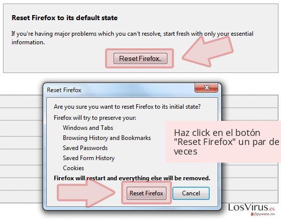 Haz click en el botón 'Reset Firefox' un par de veces
