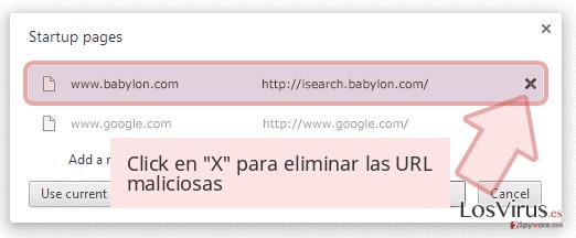 Click en 'X' para eliminar las URL maliciosas