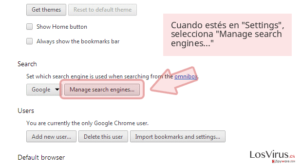 Cuando estés en 'Settings', selecciona 'Manage search engines...'