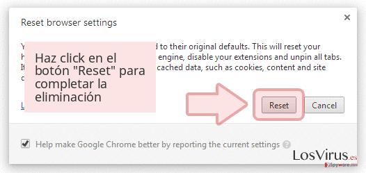 Haz click en el botón 'Reset' para completar la eliminación