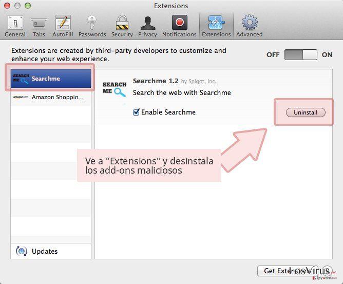 Ve a 'Extensions' y desinstala los add-ons maliciosos
