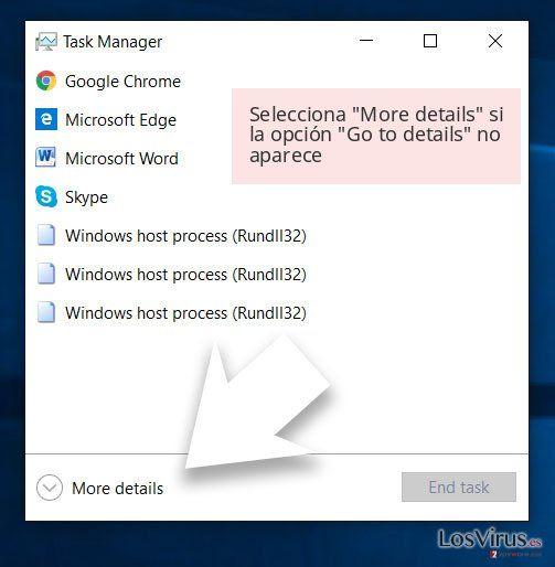 Selecciona 'More details' si la opción 'Go to details' no aparece