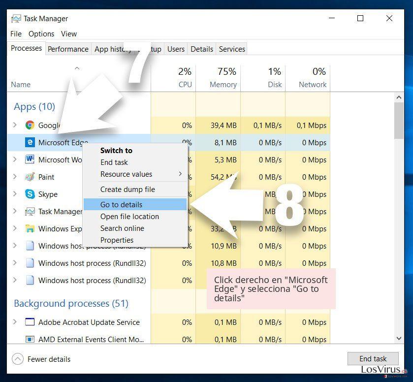 Click derecho en 'Microsoft Edge' y selecciona 'Go to details'
