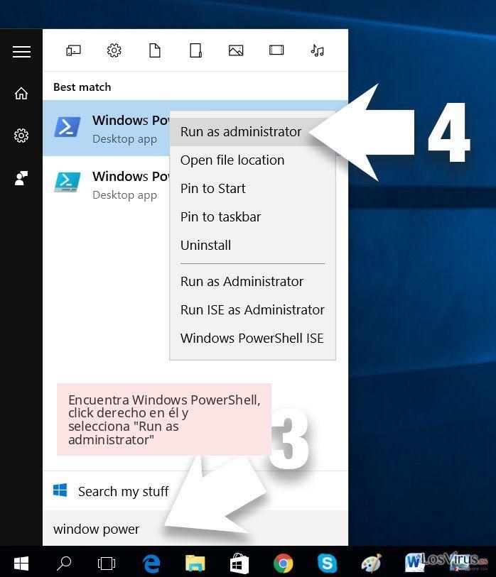 Encuentra Windows PowerShell, click derecho en él y selecciona 'Run as administrator'