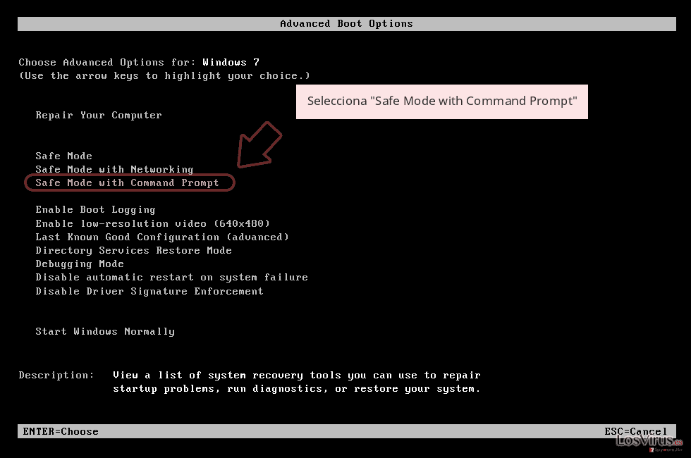 Selecciona 'Safe Mode with Command Prompt'