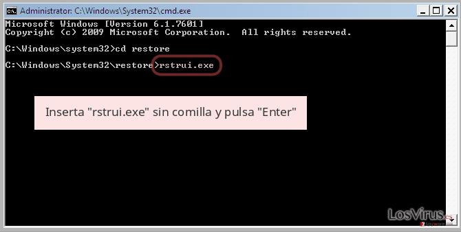 Inserta 'rstrui.exe' sin comilla y pulsa 'Enter'