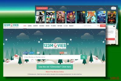 Un pantallazo del virus 0123movies.com