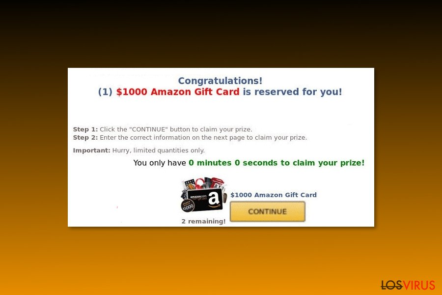 "Example of  ""$1000 Amazon Gift Card is reserved for you"" virus"