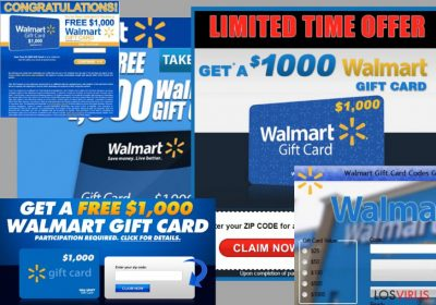 Ejemplo de los anuncios $1000 Walmart Gift Card Winner