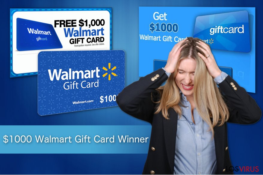 Ilustración de la estafa $1000 Walmart Gift Card Winner