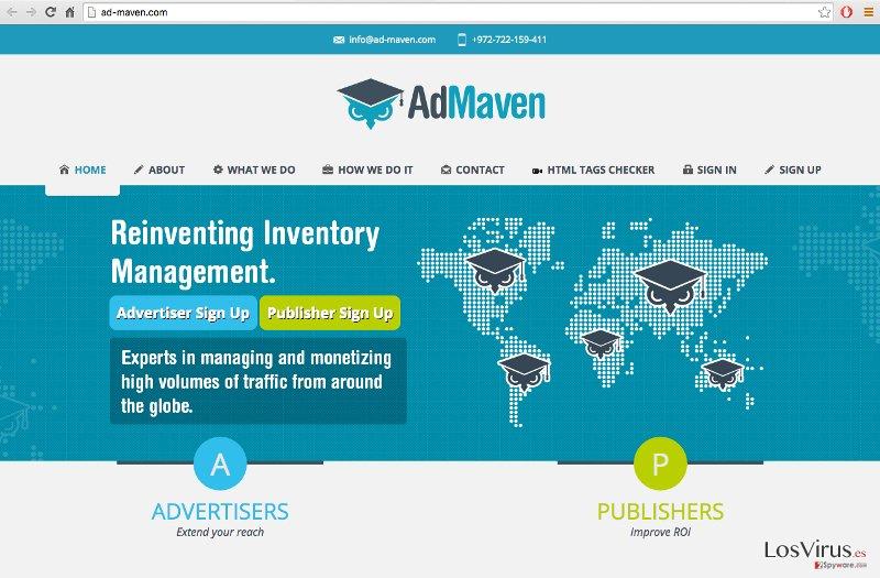 A screenshot of the official Ad-Maven website