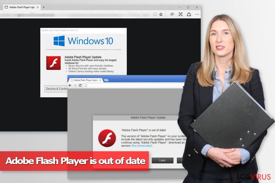 """Imagen de los pop-ups """"Adobe Flash Player está desactualizado"""""""