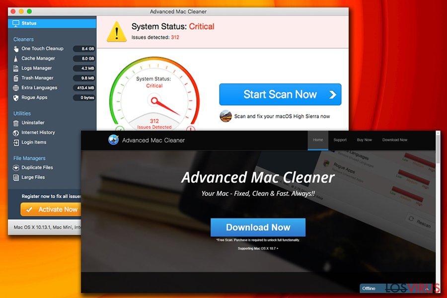 El virus Advanced Mac Cleaner foto