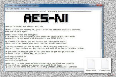 Nota de pago del virus .Aes_ni_0day