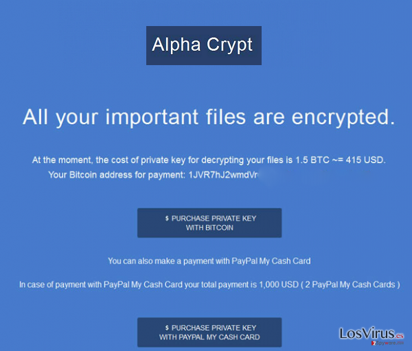El virus Alpha Crypt foto
