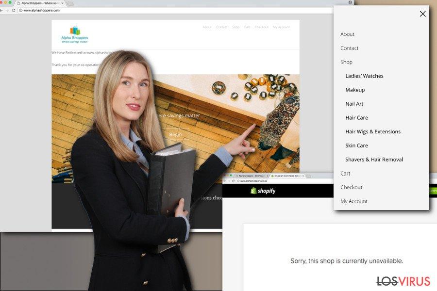 La imagen de los anuncios de AlphaShoppers