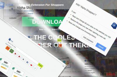 La imagen que muestra la extensión de AlphaShoppers y su página principal