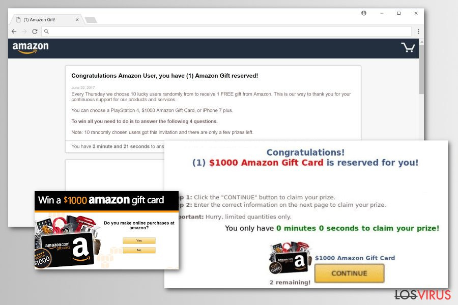 Versiones del malware Amazon Rewards Event