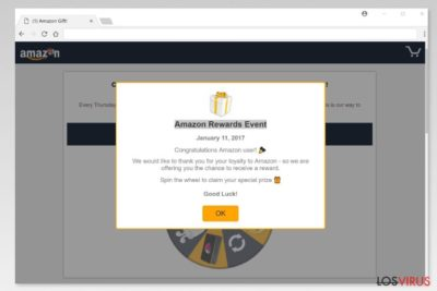 "Ejemplo estafa ""Amazon Rewards Event"""