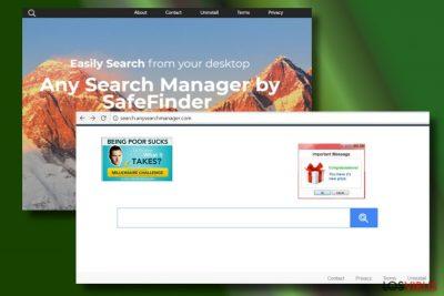 Mostrando una web hackeada por Any Search Manager