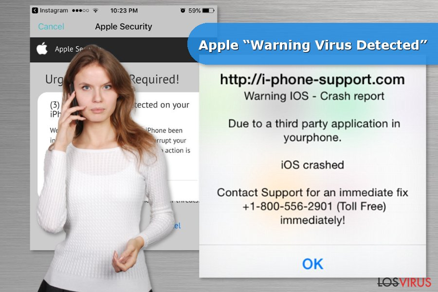 "Ejemplos de la estafa Apple ""Warning Virus Detected"""