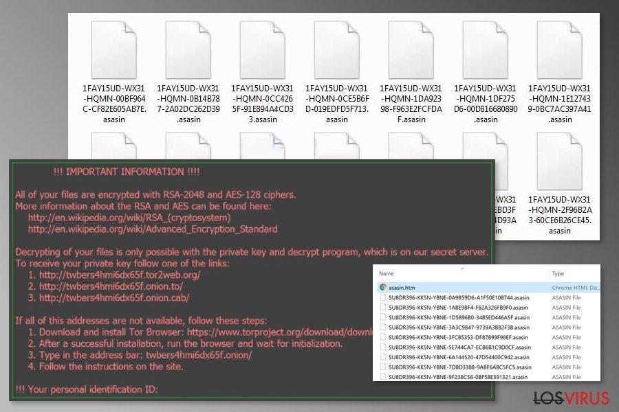 La imagen del virus ransomware Asasin