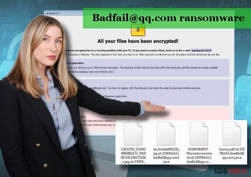 El virus Badfail@qq.com es una versión del ransomware Badfail@qq.com