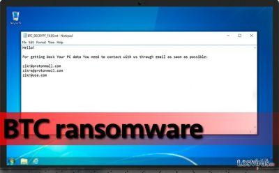 El ransomware BTC en el ordenador comprometido