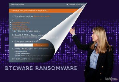 Captura de pantalla del virus BTCWare