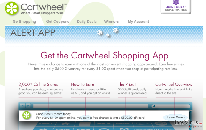 El virus Cartwheel Shopping foto