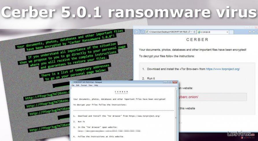 Illustration of the Cerber 5.0.1 ransomware virus