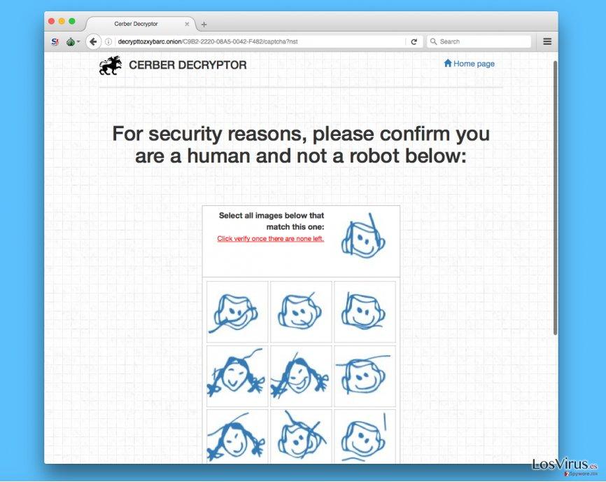 Página de verificación del virus Cerber
