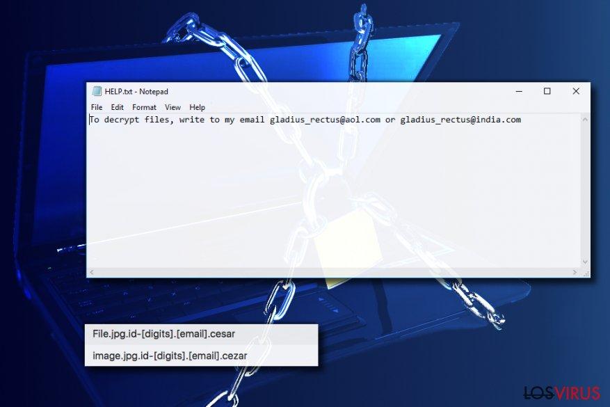 El virus ransomware Cezar