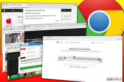 Ejemplos de anuncios mostrados por adwares de Chrome
