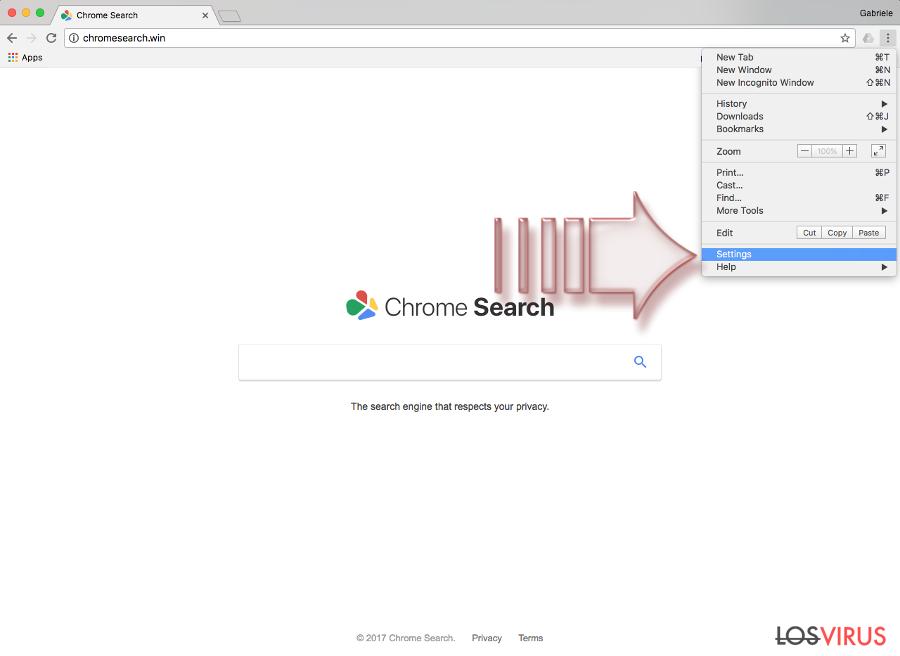El virus Chromesearch.win foto