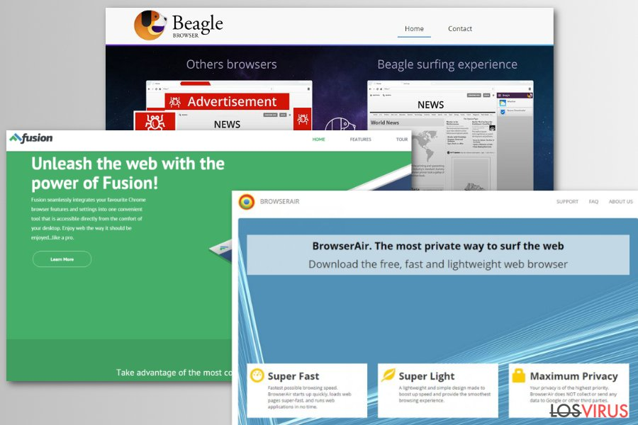 Ejemplos de falsos navegadores Chromium
