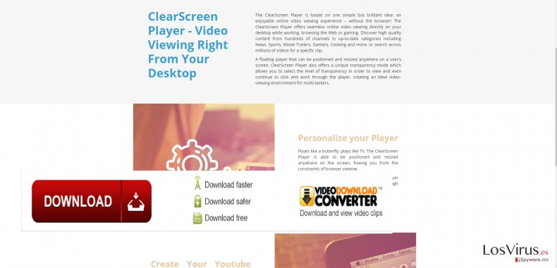 The picture revealing ClearScreen Player