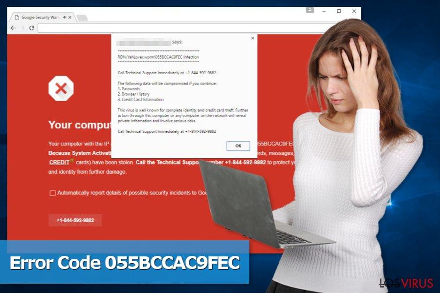 Imagen de la estafa de soporte técnico Code 055BCCAC9FEC