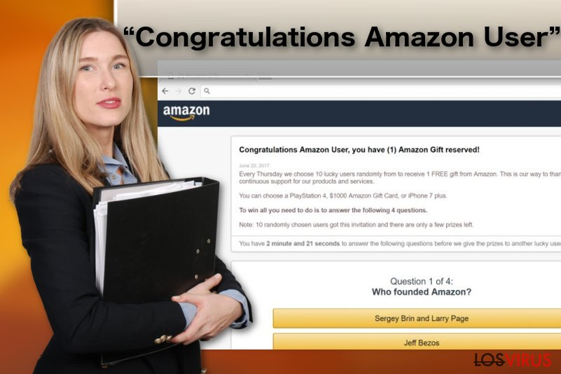 "Ilustración del virus adware ""Congratulations Amazon User"""