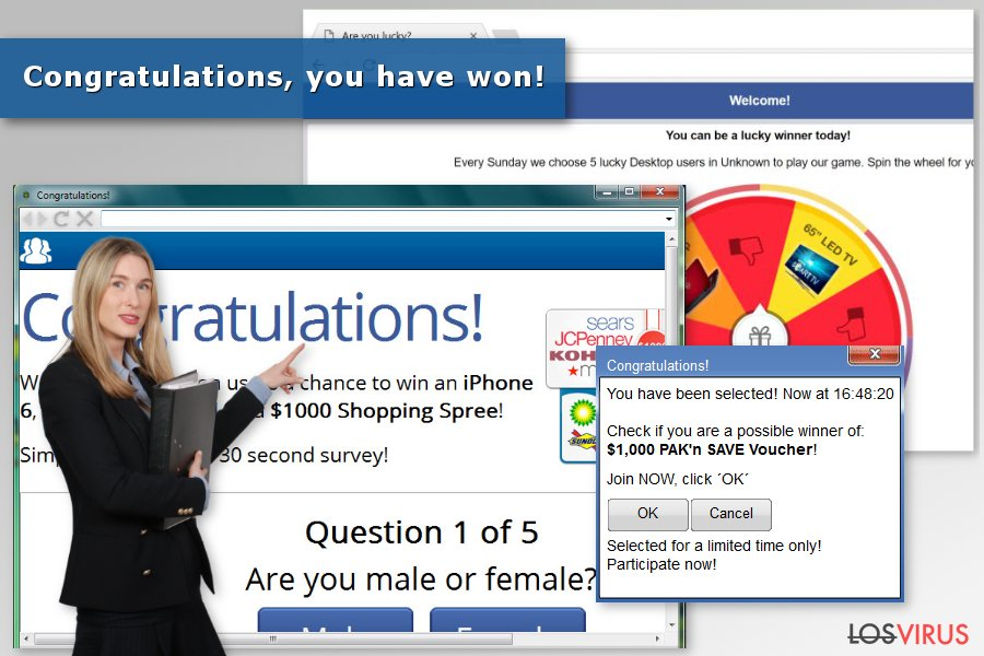 "Imagen del virus ""Congratulations, you have won"""