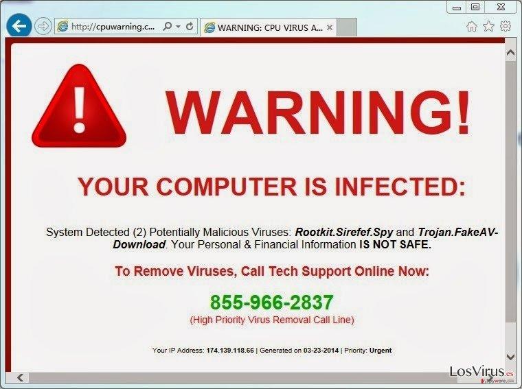 El virus CpuWarning.com foto