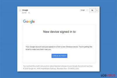 Imagen de la Alerta de Seguridad Crítica de Google