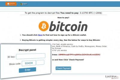 La página web Onion con instrucciones sobre cómo pagar la multa a los autores del ransomware Cry128