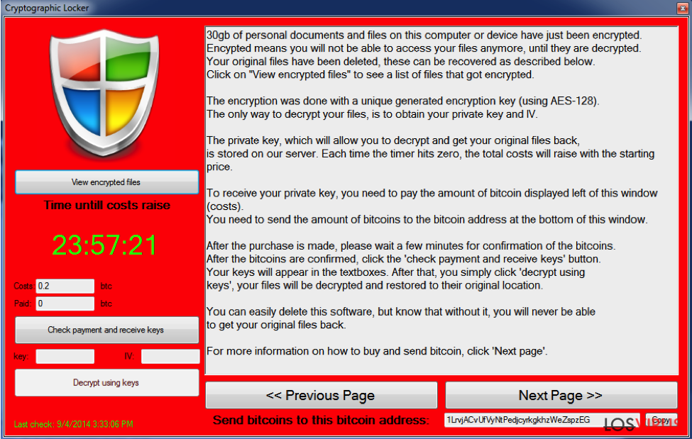 El virus Cryptographic Locker