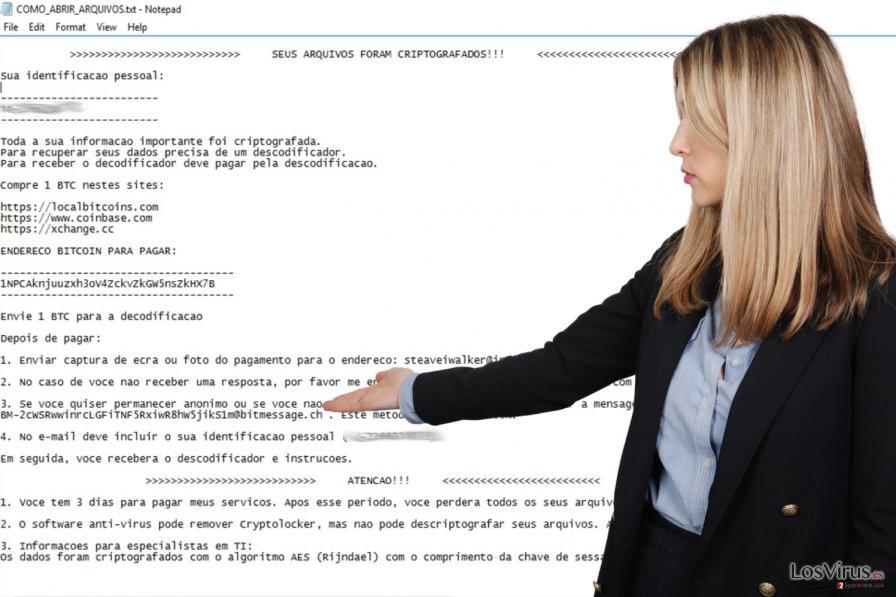 El ransomware Cryptolocker Portuguese