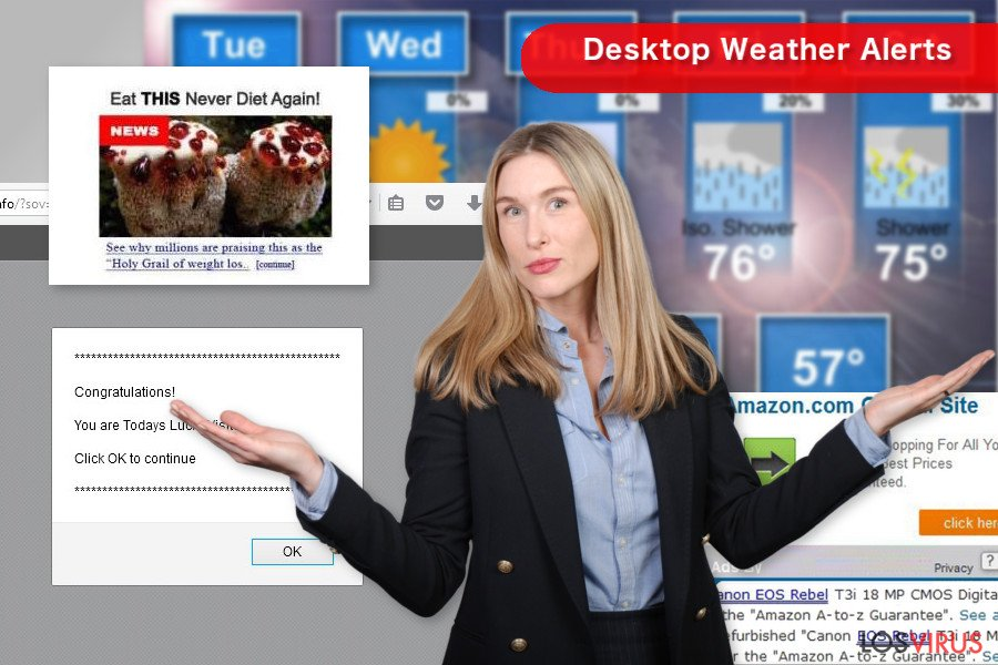 "Los pop-up de ""Desktop Weather Alerts"""
